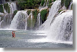 croatia, europe, girls, horizontal, krka, people, swim, swimming, waterfalls, photograph