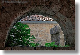 archways, croatia, europe, flowers, horizontal, lubenice, structures, photograph