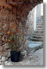 archways, croatia, europe, flowers, lubenice, narrow streets, streets, structures, vertical, photograph