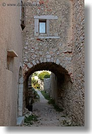 arches, archways, croatia, europe, lubenice, roads, structures, under, vertical, photograph