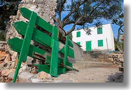 croatia, europe, fences, green, horizontal, houses, mali losinj, photograph
