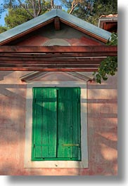 croatia, europe, green, mali losinj, shutters, vertical, windows, photograph