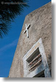 churches, croatia, europe, mali losinj, perspective, small, upview, vertical, photograph