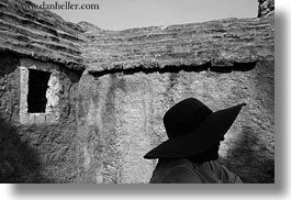 black and white, clothes, croatia, europe, hats, horizontal, mali losinj, silhouettes, windows, photograph