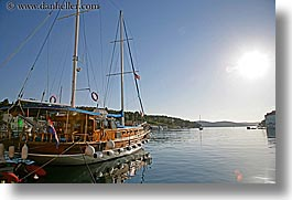 boats, croatia, europe, horizontal, milna, nostalgija, sun, water, photograph