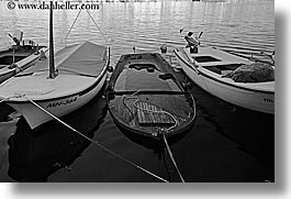 black and white, boats, croatia, europe, horizontal, milna, sinking, water, photograph