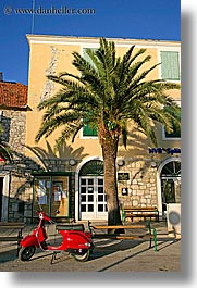 croatia, europe, milna, motorcycles, palm trees, red, scooter, vertical, photograph