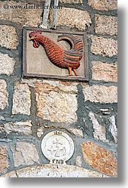 arts, croatia, europe, milna, plaques, rooster, stones, vertical, photograph