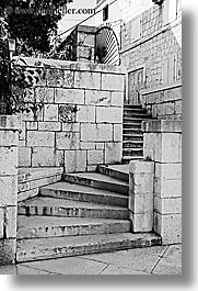black and white, croatia, europe, milna, stairs, stones, vertical, photograph