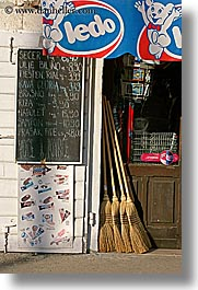 brooms, croatia, europe, menu, milna, stores, vertical, photograph