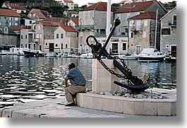 anchor, croatia, europe, horizontal, men, milna, people, sitting, water, photograph