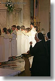 boys, croatia, europe, milna, nuns, people, praying, religious, smiling, vertical, womens, photograph