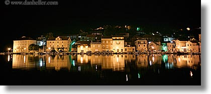 croatia, europe, horizontal, milna, nite, panoramic, reflections, slow exposure, towns, water, photograph