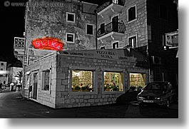 black and white, buildings, croatia, europe, horizontal, milna, nite, pizzaria, pizzeria, restaurants, slika, slow exposure, towns, photograph
