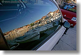 cars, croatia, europe, horizontal, milna, reflections, towns, photograph
