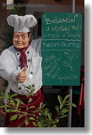 cooks, croatia, europe, mannequins, menu, people, vertical, photograph