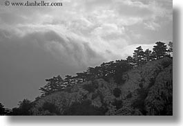 black and white, clouds, croatia, europe, hills, hillside, horizontal, landscapes, nature, rockies, scenics, photograph