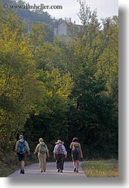 croatia, europe, hikers, hiking, motovun, nature, people, plants, trees, vertical, photograph