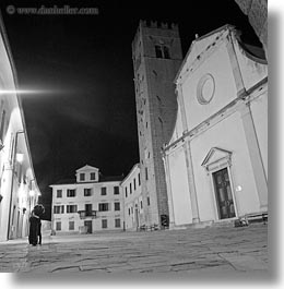 black and white, churches, couples, croatia, europe, glow, hugging, lights, motovun, nite, slow exposure, square format, photograph