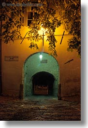 archways, croatia, double, europe, glow, lights, motovun, nite, slow exposure, vertical, photograph
