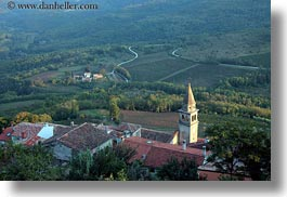 bell towers, buildings, churches, croatia, europe, hills, horizontal, landscapes, motovun, nature, scenics, structures, towers, photograph
