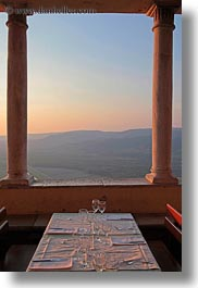 croatia, dining, europe, hills, landscapes, motovun, nature, scenics, sky, sun, sunrise, sunsets, tables, vertical, photograph