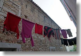 croatia, europe, hangings, horizontal, laundry, motovun, narrow, perspective, streets, towns, upview, photograph