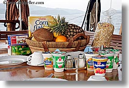 apples, bananas, breakfast, croatia, europe, foods, fruits, horizontal, nostalgija, oranges, pineapple, tables, yogurt, photograph