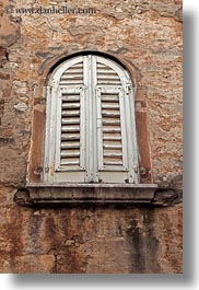 archways, croatia, europe, porec, shutters, structures, vertical, windows, photograph