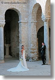 archways, brides, couples, croatia, europe, events, groom, men, people, porec, structures, vertical, wedding, womens, photograph