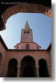 archways, bell towers, christian, churches, croatia, europe, porec, religious, structures, vertical, photograph