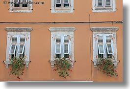 croatia, europe, flowers, horizontal, pula, windows, photograph