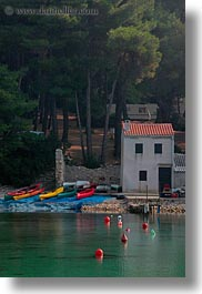 croatia, europe, green, houses, punta kriza, vertical, water, photograph
