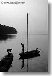 black and white, boats, croatia, dock, europe, people, punta kriza, silhouettes, vertical, photograph