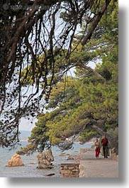 couples, croatia, europe, hiking, rab, trees, vertical, walking, water, photograph