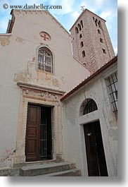 archways, bell towers, benedictine, buildings, churches, croatia, europe, monestaries, rab, religious, st andrew, structures, towers, vertical, photograph