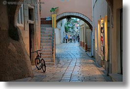 archways, bicycles, croatia, europe, horizontal, narrow, narrow streets, rab, streets, structures, photograph