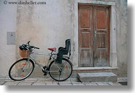 bicycles, croatia, doors, europe, horizontal, rab, woods, photograph