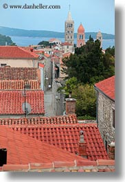 bell towers, buildings, churches, croatia, europe, rab, religious, rooftops, structures, towers, vertical, photograph