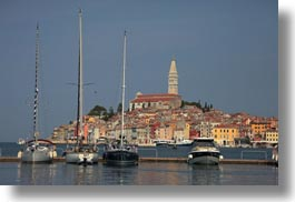 bell towers, boats, buildings, croatia, europe, horizontal, ravinj, rovinj, structures, towers, towns, transportation, photograph