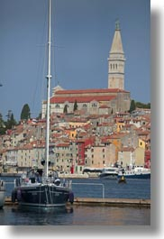 bell towers, boats, buildings, croatia, europe, ravinj, rovinj, structures, towers, towns, transportation, vertical, photograph