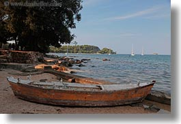 boats, croatia, europe, horizontal, old, rovinj, sand, woods, photograph
