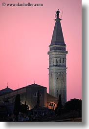bell towers, buildings, croatia, dusk, europe, nature, pink, rovinj, sky, structures, sun, sunsets, towers, vertical, photograph