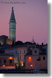 bell towers, buildings, croatia, dusk, europe, nature, rovinj, sky, structures, sun, sunsets, towers, vertical, photograph