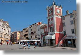 buildings, clock tower, colorful, colors, croatia, europe, horizontal, rovinj, structures, towers, towns, photograph