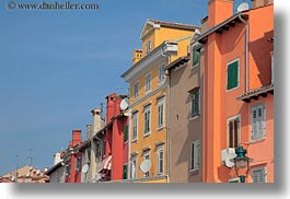 buildings, colorful, colors, croatia, europe, horizontal, perspective, rovinj, upview, photograph