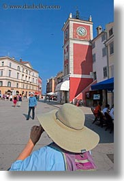 buildings, clock tower, colorful, colors, croatia, europe, hats, rovinj, vertical, photograph