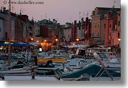boats, croatia, dusk, europe, glow, harbor, horizontal, lights, nature, rovinj, sky, sun, sunsets, transportation, photograph