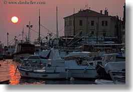 boats, croatia, europe, glow, harbor, horizontal, lights, nature, rovinj, sky, sun, sunsets, transportation, photograph