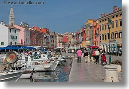 bell towers, boats, buildings, croatia, europe, harbor, horizontal, rovinj, structures, towers, towns, transportation, photograph